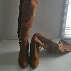 Over the knee seude boots